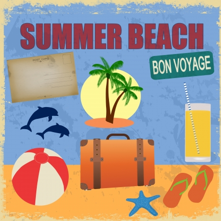 Summer beach in retro style. Vintage Summer Postcard with Summer Items in Old Style, Illustration. Stock Vector - 18649978