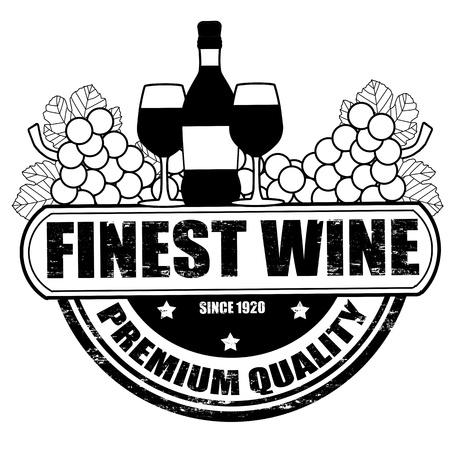 finest: Finest wine grunge rubber stamp on white background, illustration