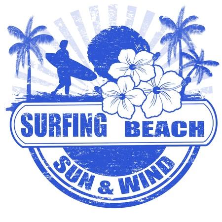 Surf playa sello de goma del grunge con palmeras, flores de hibisco y surfista, ilustración