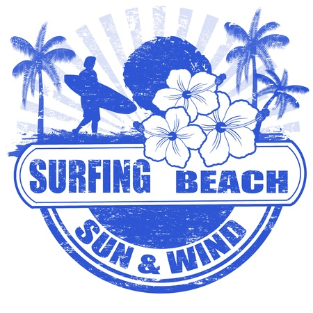 coast: Surfing beach grunge rubber stamp with palms, hibiscus flowers and surfer, illustration Illustration