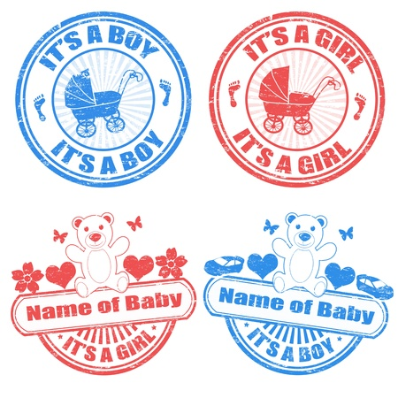Set of grunge baby boy and baby girl rubber stamps, illustration