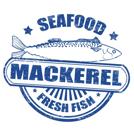 mackerel: Grunge rubber stamp of a mackerel fish and the text seafood fresh fish written inside, illustration