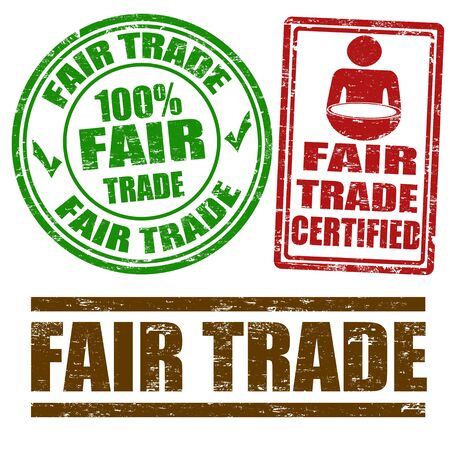 certified: Set of Fair Trade grunge rubber stamps on white, vector illustration