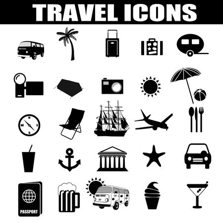 Travel icons set on white background, illustration Stock Vector - 18798267