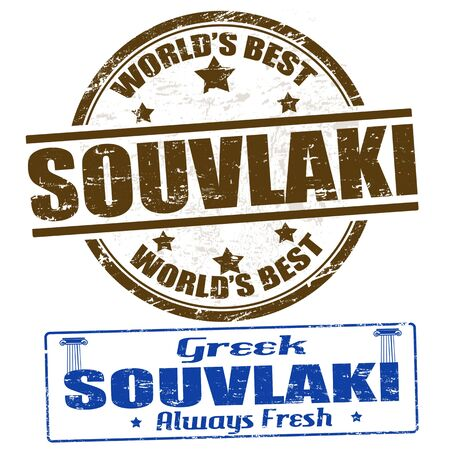 greece stamp: Grunge rubber stamps with the word souvlaki written inside, illustration