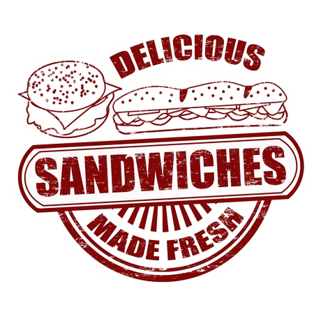 sandwich: Grunge rubber stamp with the word sandwiches written inside, illustration Illustration