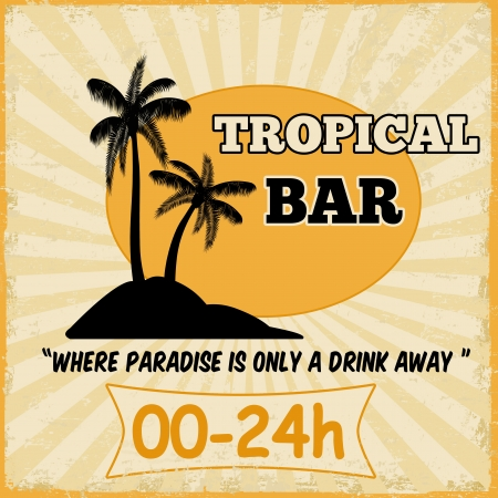 beach bar: Tropical bar vintage grunge poster, illustration
