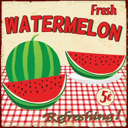 Watermelon vintage grunge poster, illustration Vector