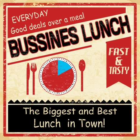 Vintage bussiness lunch grunge old style poster background, vector illustration Vector