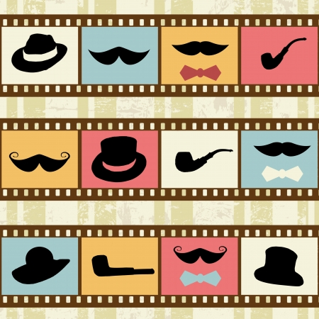 fake mustaches: Retro background with film strips, mustaches hats and pipes, vector illustration