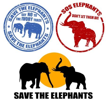 timbre voyage: Jeu de timbres en caoutchouc grunge avec la forme de l'éléphant et le texte sauver les éléphants écrites à l'intérieur