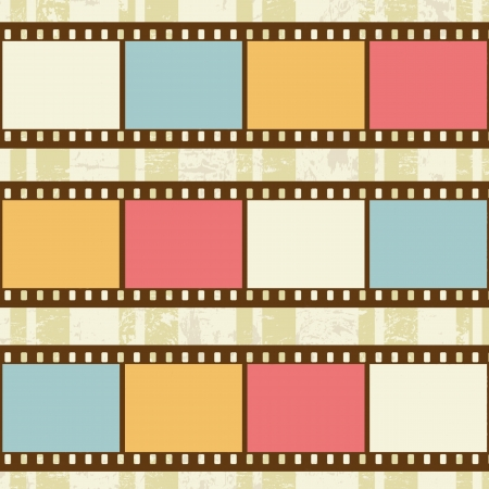 celluloid film: Retro background with film strips on grunge background, vector illustration