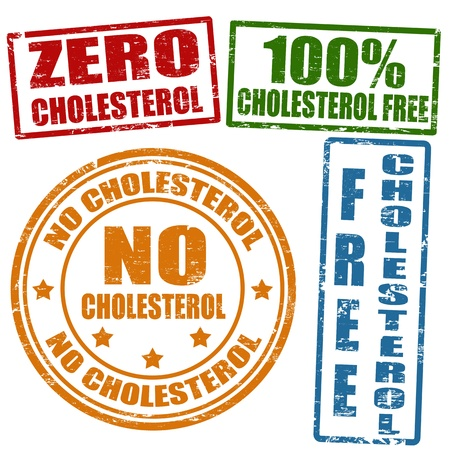 cholesterol: Set of grunge office rubber stamps with  no cholesterol, illustration Illustration