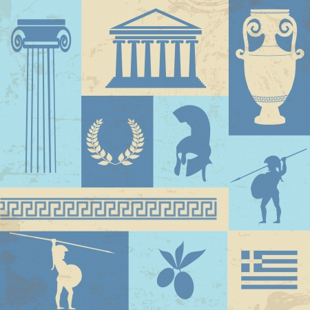 greek flag: Retro style poster with Greece symbols and landmarks, illustration