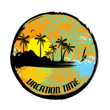 Vacation time grunge stamp on white background, illustration Stock Vector - 18871006