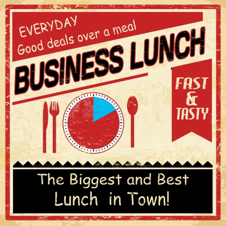 Vintage business lunch grunge old style poster background, illustration Stock Vector - 18871005