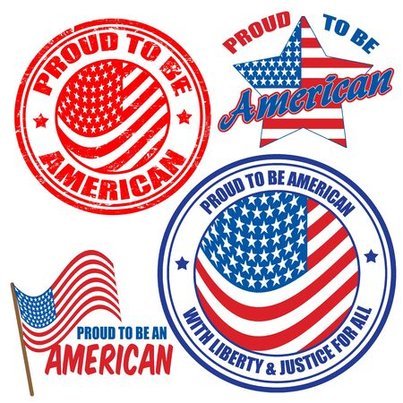 citizenship: Proud to be American signs and stamps   Illustration