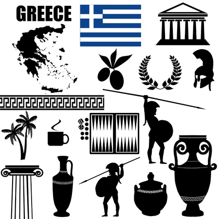 antica grecia: Simboli tradizionali della Grecia su sfondo bianco