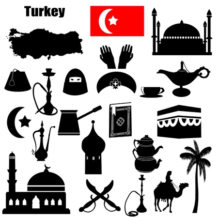 turkish flag: Traditional symbols of Turkey on white background  Illustration