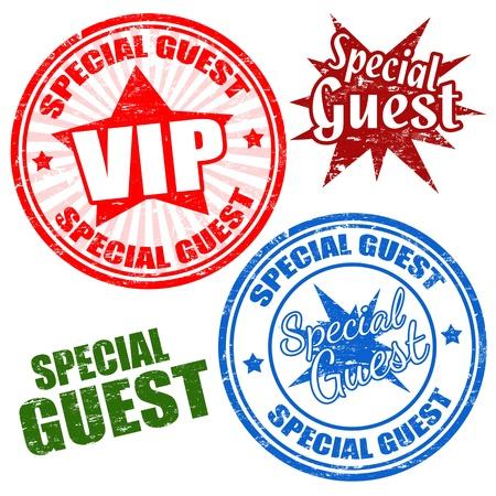guests: Conjunto de sellos de goma del grunge con el invitado especial de texto escrito dentro Vectores