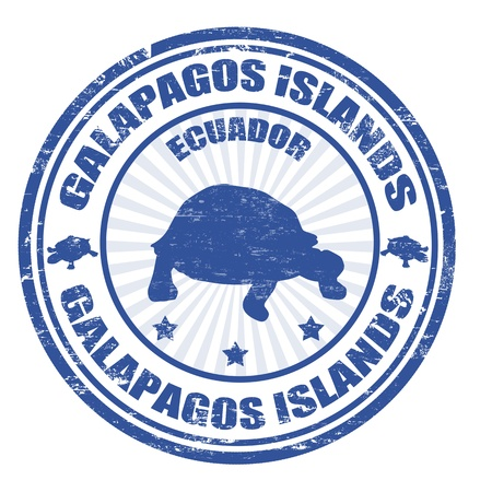 ecuador: Blue grunge rubber stamp with the text Galapagos Islands written inside