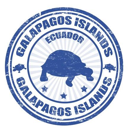 Azul grunge sello de goma con el texto escrito en el interior de las Islas Galápagos