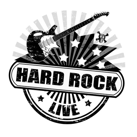 rock music: Black grunge rubber stamp with electric guitar and the text hard rock written inside, illustration