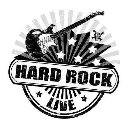 acustica: Nero grunge timbro di gomma con la chitarra elettrica e l'hard rock testo scritto dentro, illustrazione Vettoriali