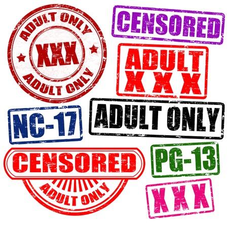 pornografia: Ajuste de los adultos s�lo contenido sellos de caucho grunge, ilustraci�n Vectores