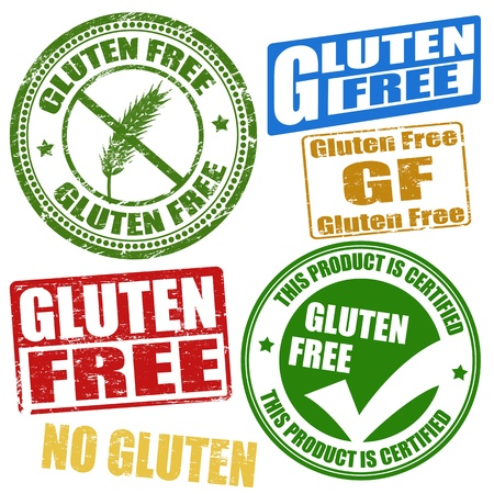 gluten: Set of grunge rubber stamps with the text gluten free written inside, illustration Illustration