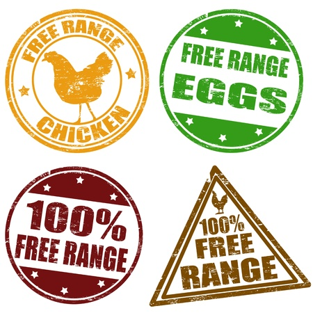 chicken and egg: Set of free range chicken and eggs rubber stamps illustration Illustration