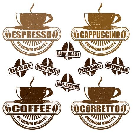 capuchino: Conjunto de sellos de la vendimia con los diferentes tipos de caf�, ilustraci�n vectorial