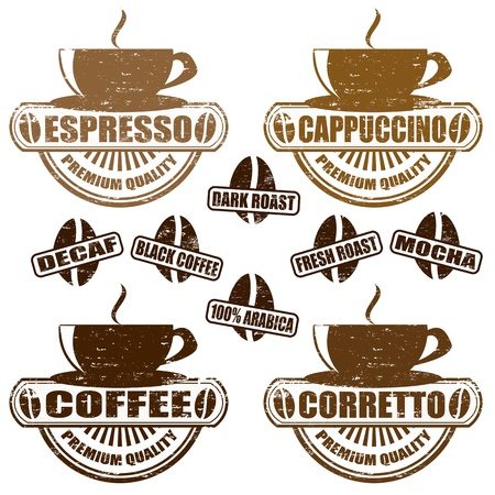 cappuccino: Jeu de timbres vintage avec diff�rents types de caf�, illustration vectorielle