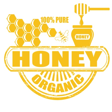 Honey grunge rubber stamp on white background, vector illustration