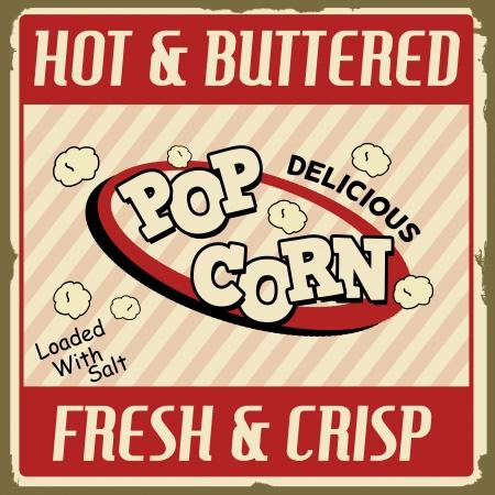 palomitas de maiz: Cartel de �poca grunge Pop corn, ilustraci�n vectorial