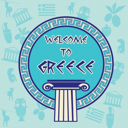 parthenon: Welcome to Greece travel sticker on greek patern background, vector illustration