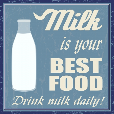 50s: Milk is your best food vintage grunge poster, vector illustrator