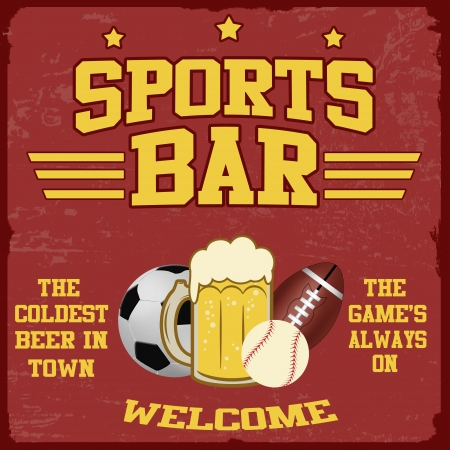 Sport bar vintage grunge poster, vector illustrator Vector
