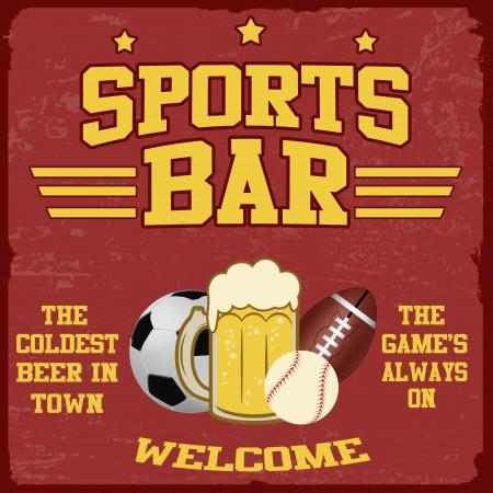 beer card: Sport bar vintage grunge poster, vector illustrator