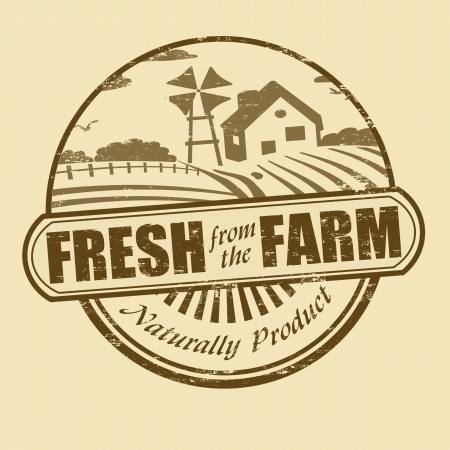 crops: Fresh from the farm product grunge rubber stamp, vector illustration