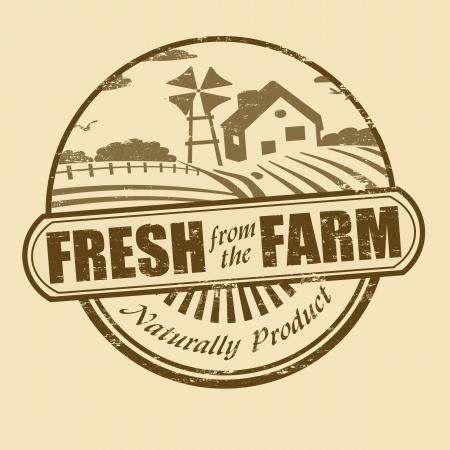 bauernhof: Frisch vom Bauernhof Produkt Grunge Stempel, Vektor-Illustration Illustration