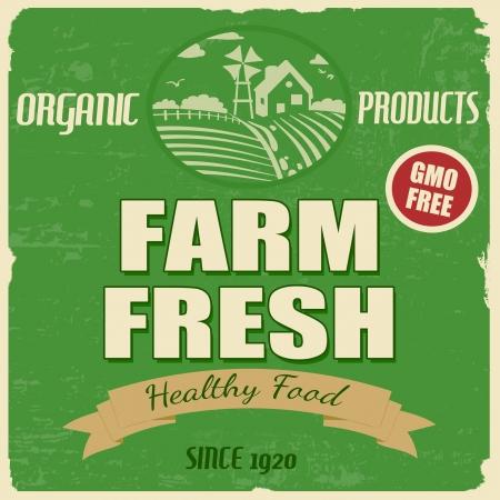 gmo: Farm fresh vintage grunge retro poster, vector illustration Illustration