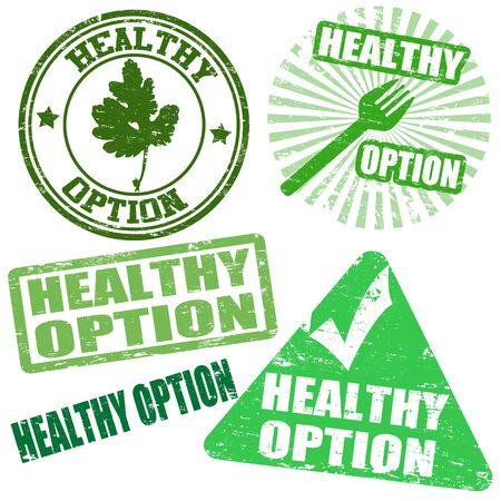 Set of healthy option grunge rubber stamps, vector illustration Stock Vector - 19057797