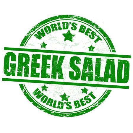 Greek salad grunge rubber stamp on white background, vector illustration