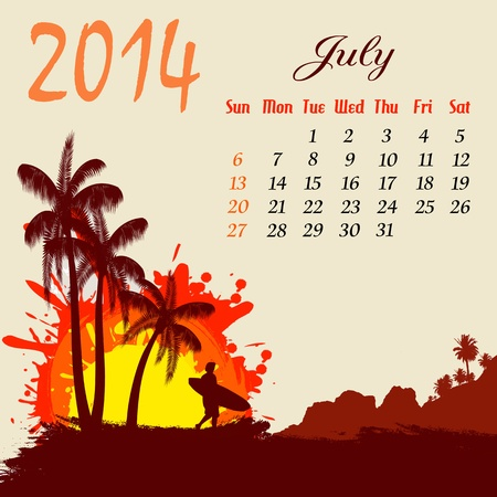 Calendar for 2014 July with palm trees and surfer silhouette, vector illustration Stock Vector - 19135532