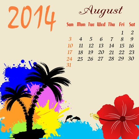 Calendrier pour 2014 Août avec des palmiers et des dauphins, illustration Banque d'images - 19135524