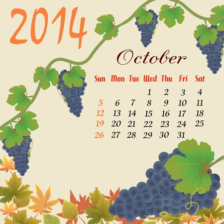 Calendar for 2014 October with grapes and leaves, vector illustration Stock Vector - 19135530