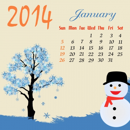 Calendar for 2014 January with winter tree and snowman  Vector