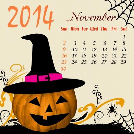 dates fruit: Calendario para el 2014 de noviembre con elementos de Halloween