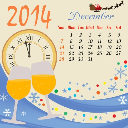 Calendar for 2014 December with clock and glass of champagne  Vector